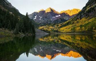 Lake mountains reflection forest snow forest Maroon Bells Colorado