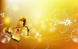 Gold abstract butterflies floral powerpoint background