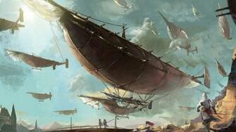 steampunk mechanical ships boats flight sky clouds aircraft f