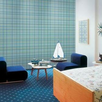 Plaid Blue Removable Wallpaper Half Kit Removable WallPaper Pinte