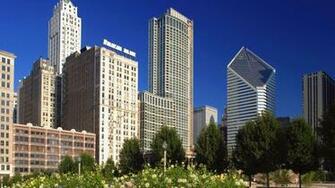 Download Background   Chicago Skyline From Millennium Park