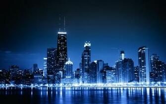 cityscapes Chicago night lights urban skyscrapers wallpaper background