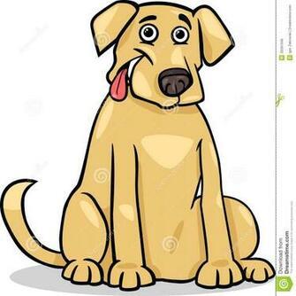 Cartoon Illustration of Funny Purebred Labrador Retriever Dog