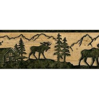 Timber Creek Lodge Border Silhouette MOOSE Log cabin Wallpaper wall