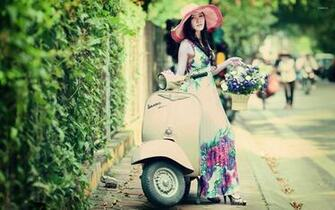 Girl on Vespa wallpaper   Girl wallpapers   42647