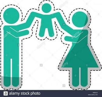 sticker of family of parents and kids over white background