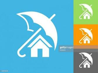 Home Insurance Flat Icon On Blue Background stock illustration
