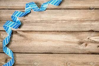 Bavarian Ribbon On Wooden Background With Copy Space Oktoberfest