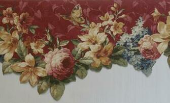 Burgundy Floral Scalloped Wallpaper Border   Kitchen Bathroom