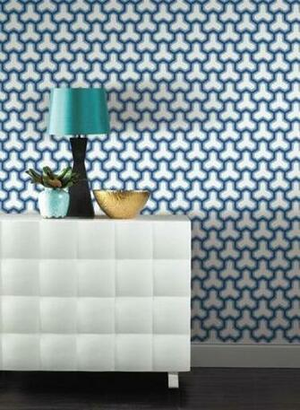 blue and ivory geometric wallpaper 70 Fabric and pillows Pintere