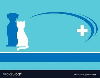 Blue veterinarian background and pets silhouettes Vector Image