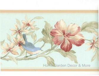 Blue Bird Red Burgundy Flower Floral Wall paper Border