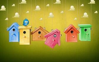 cartoon wallpaper bird house colorful HD Wallpapers