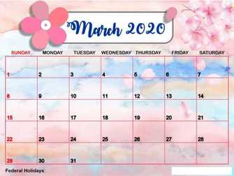 Cute March 2020 Calendar Desktop Wall Paper 12 Month Printable