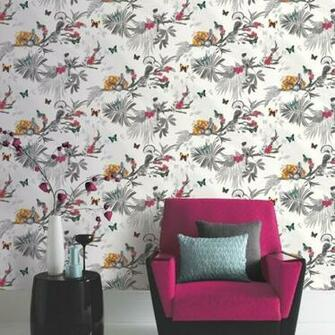 Forest Floral Leaf Pattern Bird Butterfly Motif Wallpaper 664802