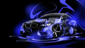 BMW E92 M3 Super Abstract Car 2014 Blue Neon HD Wallpapers design by
