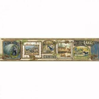 Cabin Fever Border   Poinsett   ECHO LAKE LODGE Wallpaper by