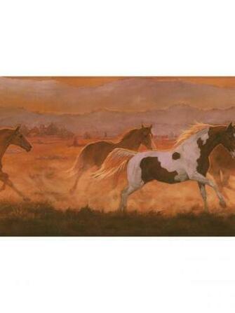 Wild Horses Sunset Wallpaper Border IN2632B ranch western decor