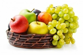 Download Wallpaper Grapes Apples Basket Fruit HD Background