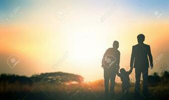 Global Day Of Parents Concept Family At Sunrise Background Stock