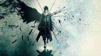 Anime Wallpaper wings Uchiha Sasuke Akatsuki feathers artwork