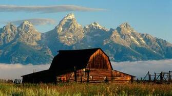 1366x768 Mountains and cabin desktop PC and Mac wallpaper