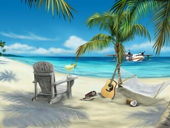 This animated beach desktop wallpaper has everything you need to be