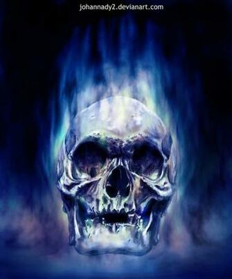 Blue Flaming Skull Wallpaper Blue flaming s