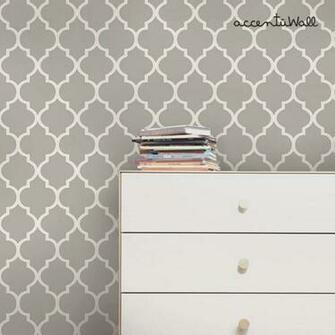 Moroccan Grey Peel and Stick Fabric Wallpaper Repositionable