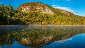Photos USA Echo Lake New Hampshire Nature Autumn Mountains 1920x1080