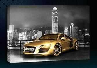Audi R8 Gold City Background Colour Grey Size 12 X 24 3 Panel