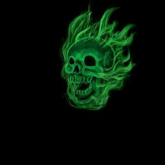 Green Flame Skull Wallpaper Flaming green skull by