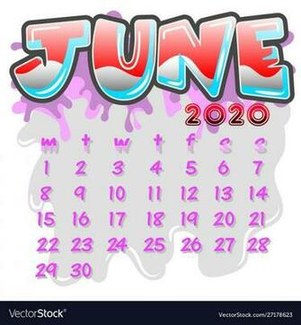 June 2020 month calendar Royalty Vector Image