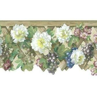 Flowers and Fruit on Lattice Ecru Wallpaper Border in Mulberry