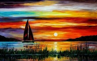 Florida Leonid Afremov Sonnenuntergang Meer Boot Malerei