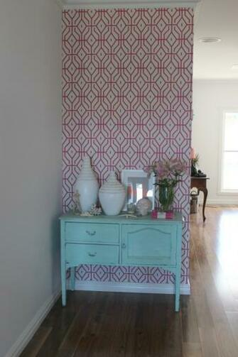 The wallpaper in my house pink trellis the world map PLUS a