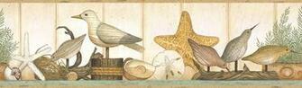 Coastal Shelf Wallpaper Border sandpipers nautical beach decor