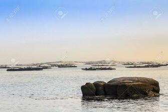 Mussel Aquaculture Rafts In Arousa Bay With Areoso Island At