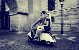 Wallpaper retro scooter vespa vintage city boy girl wallpapers