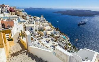 Pictures Santorini Greece Sea stairway Ships Coast Cities 3840x2400