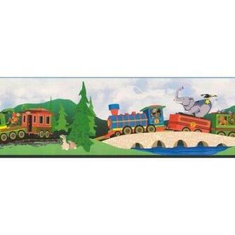 Wallpaper Border Animal Train Circus Express Home
