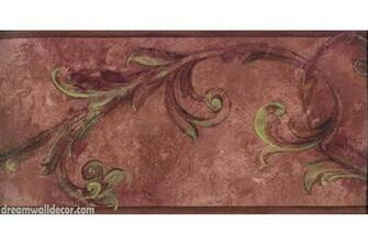 Maroon Brown Vintage Floral Wallpaper Border