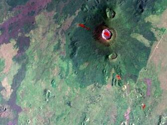 Space Images Nyiragongo Volcano Congo Map View with Lava