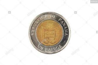A close up image of a Panamanian bimettalic one Balboa coin