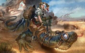 wallpaper Art Steampunk girl equestrienne desktop wallpaper