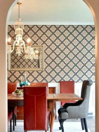 Moroccan trellis geometric pattern dining room wallpaper Loving