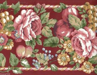 Red Burgundy Cabbage Rose Floral Flower Fruit Apple Grape Rope Wall