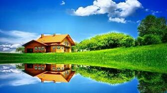 House reflected in the lake wallpaper Wallpapers Home