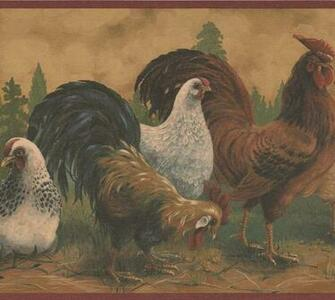 Brown Rooster White Hen Farmhouse Wallpaper Border Retro Design