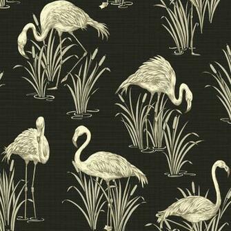 Vintage Lagoon Traditional Oriental Flamingo Textured Wallpaper 252600